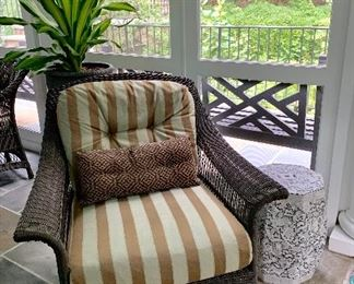 Brown Jordan outdoor wicker furniture.