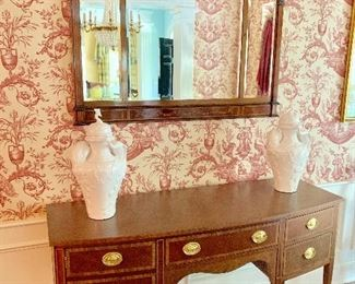 Kindel Federal style mahogany buffet and antique mirror
