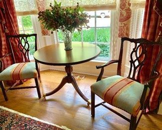 Kindle dining chairs and round side table
