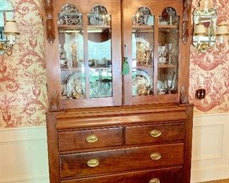 Ruppert Antiques (Boston), Ireland c. 1840 mahogany bureau and bookcase