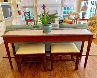 Custom sofa table with travertine insert top.  Scully & Scully benches