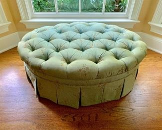 Hickory Chair Tufted round ottoman with skirt.