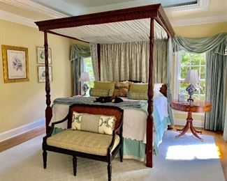 Four poster canopy bed, bench and side table