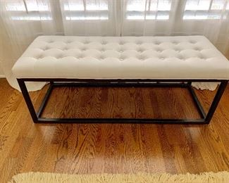 Metal based, leather tufted bench