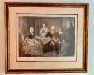 "Steel engraved mezzo tint engraving ""Washington and his Family"" by William Sartain"