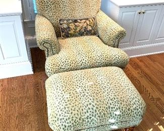 Pearson custom upholstered, nailhead arm chair and ottoman