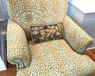 Pearson custom upholstered arm chair and ottoman (close up)