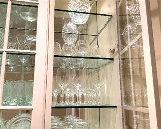 Crystal wine glasses, decanters, plates and vases