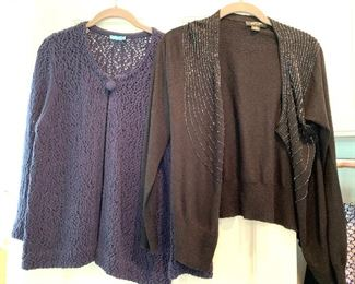 J. McLaughlin and other sweaters; Shoes are 9.5-10 Clothes range from S-L. Most 8/10 and M/L