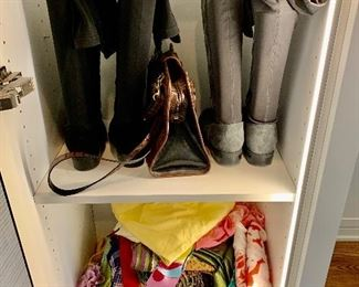 Boots!  Scarves!  Brighton handbag! Shoes are 9.5-10 Clothes range from S-L. Most 8/10 and M/L