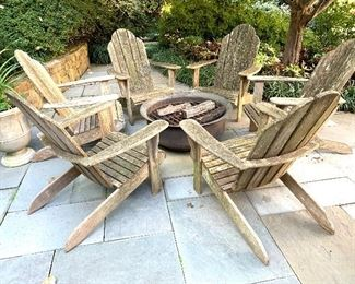 6 Country Casuals Adirondack chairs and copper fire pit