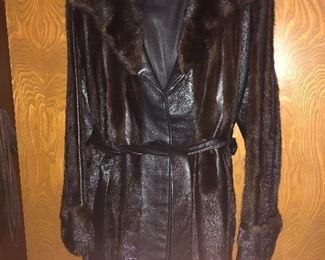 Mink & leather coat circa 1950s