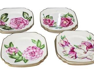 17. Lot of Twelve 12 Vintage SYRACUSE CHINA Flower Plate Sets