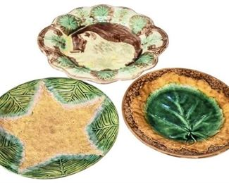 18. Lot of Three 3 Vintage Decorative Majolica Glazed Plates