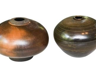 20. Two 2 Contemporary Artisan Pottery Vases Signed