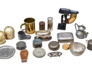 25. Nice Mixed Lot Antique Tin Metal Collectibles