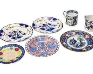 31. Collection of Seven 7 Antique Ceramic Decorative Plates  Mugs
