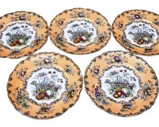 33. Set of Five 5 Antique Ceramic Decorative Plates