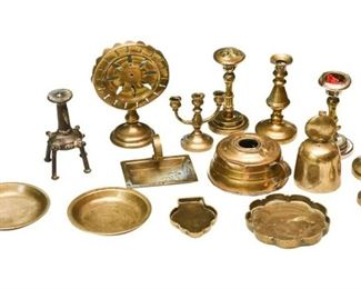 37. Mixed Collection Vintage Brass Objects Dishes