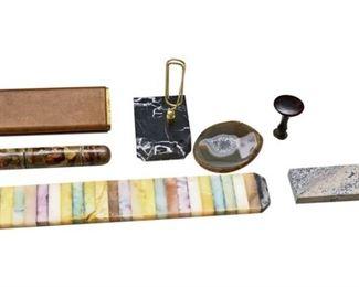 40. Mixed Lot Marble Desk Accessories wParker Pens