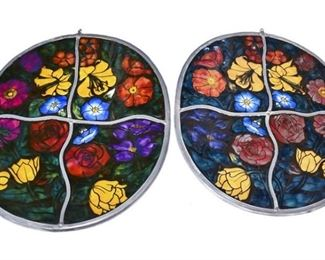 41. Pair Vintage Enameled Stained Glass Sections wFlowers
