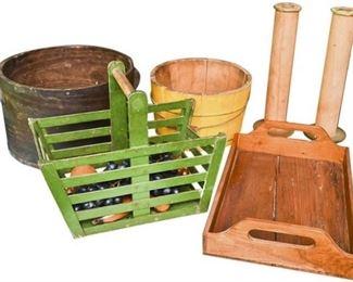 43. Mixed Lot Wooden Basket Storage Bins wExtras