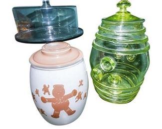 49. Two 2 Vintage Glass BiscuitCookie Jars