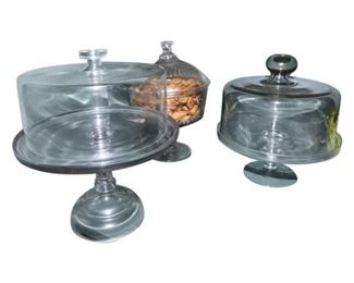 50. Lot Glass Cake Stands wLidded Candy Dish