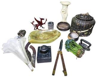 51. Mixed Lot Vintage Collectibles Chinese BasketGlass DragonKnives