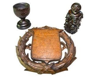 53. Three 3 Antique Hand Carved Wooden Objects PLAQUEFIGURECHALICE
