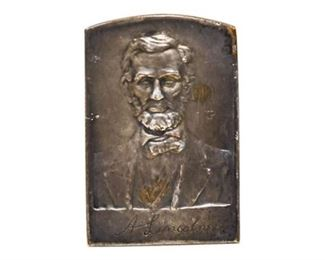 59. Miniture Antique Silver Plated Relief Sculpture Abraham Lincoln
