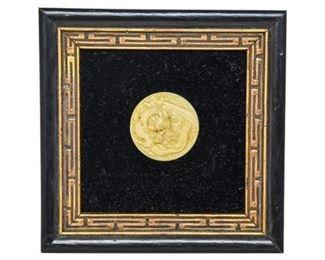 64. Framed Carved Ivory Dragon Medallion