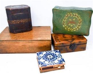 69. Mixed Lot Wood Leather TrinketKeepsake Boxes