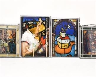 72. Lot of Four 4 Small Stained Glass Displays
