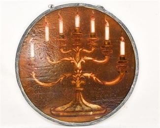73. Antique Church Stained Glass Section wMenorah