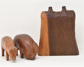 75. Vintage Hand Carved Wooden Pigs Flower Vase