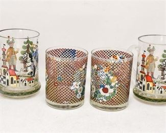 79. Set of Four 4 Antique Enamel Decorated Drinking Glasses