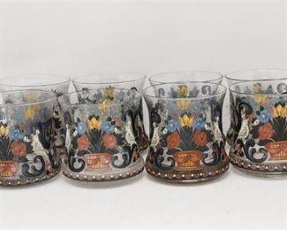 82. Lot of Eight 8 Vintage Enamel Decoration Drinking Glasses
