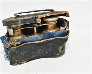 84. Pair Antique Brass Pearl French Opera GlassesBinoculars wCase
