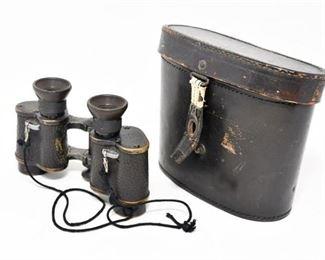 85. Antique Pair OIGEEGermany Binoculars wLeather Case