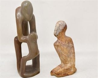 87. Two Carved Stone Figures