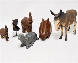 88. Group Lot Vintage Carved Wood Metal Animal Figurines