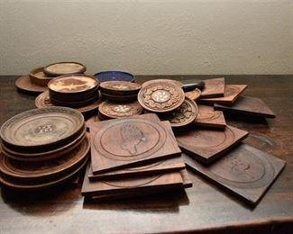 93. Collection of Decorated Wooden Coasters