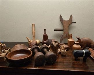 94. Collection of Vintage Wooden Toys and Decor