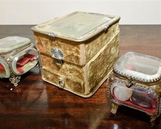 108. Three Trinket Boxes with Beveled Glass Detail