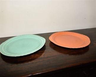 111. Set of Two 2 Vintage Art Deco Ceramic Serving Platters