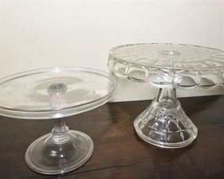 112. Two 2 Vintage Pressed Glass Cake Stands