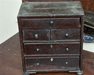 117. Small Mahogany Doll Furniture Dresser wDrawers