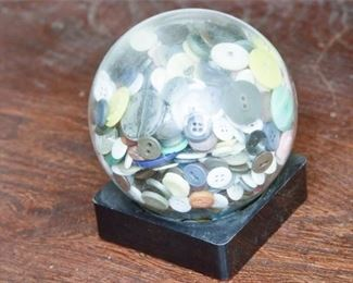 118. Vintage Mounted Glass Display Dome wAntique Button Collection
