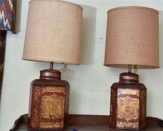 124. Pair of Tole Bartlett Son Lamps